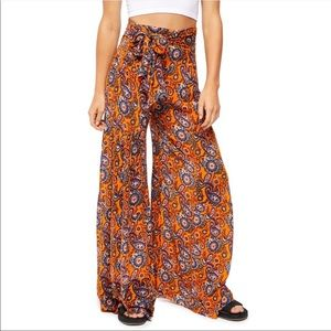 FREE PEOPLE Orange Aloha Wide Leg Palazzo Pants M